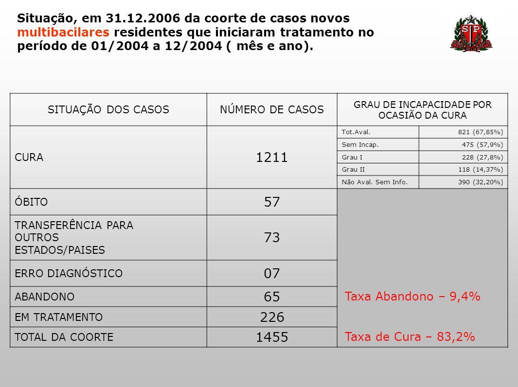 Situação, em 31.12.2006 da coorte de casos novos multibacilares residentes que iniciaram tratamento no período de 01/2004 a 12/2004 ( mês e ano). SITU