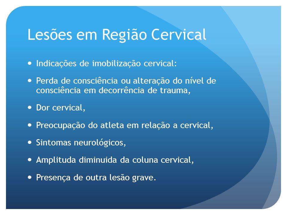 Lesões em Região Cervical Indicações de imobilização cervical: Perda de consciência ou alteração do nível de consciência em decorrência de trauma, Dor