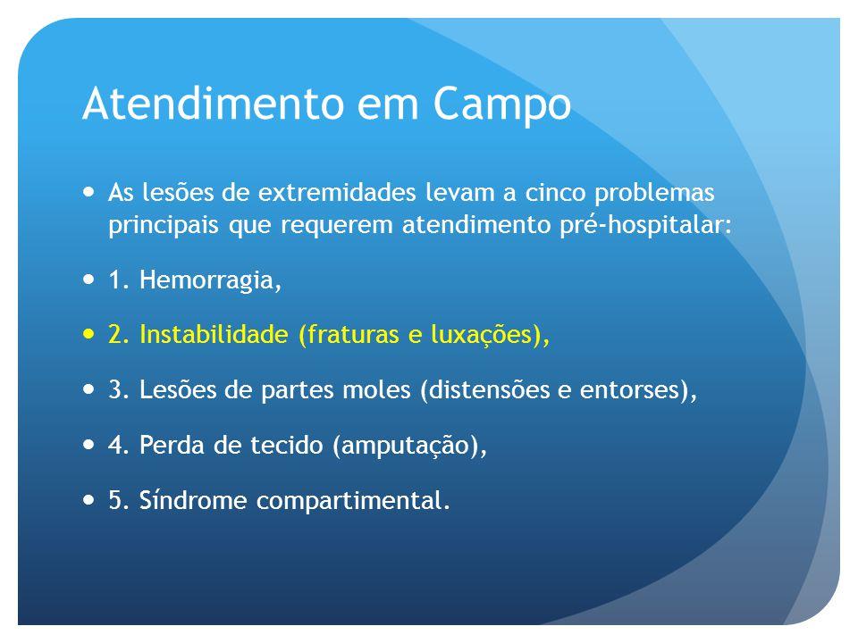 Atendimento em Campo As lesões de extremidades levam a cinco problemas principais que requerem atendimento pré-hospitalar: 1. Hemorragia, 2. Instabili