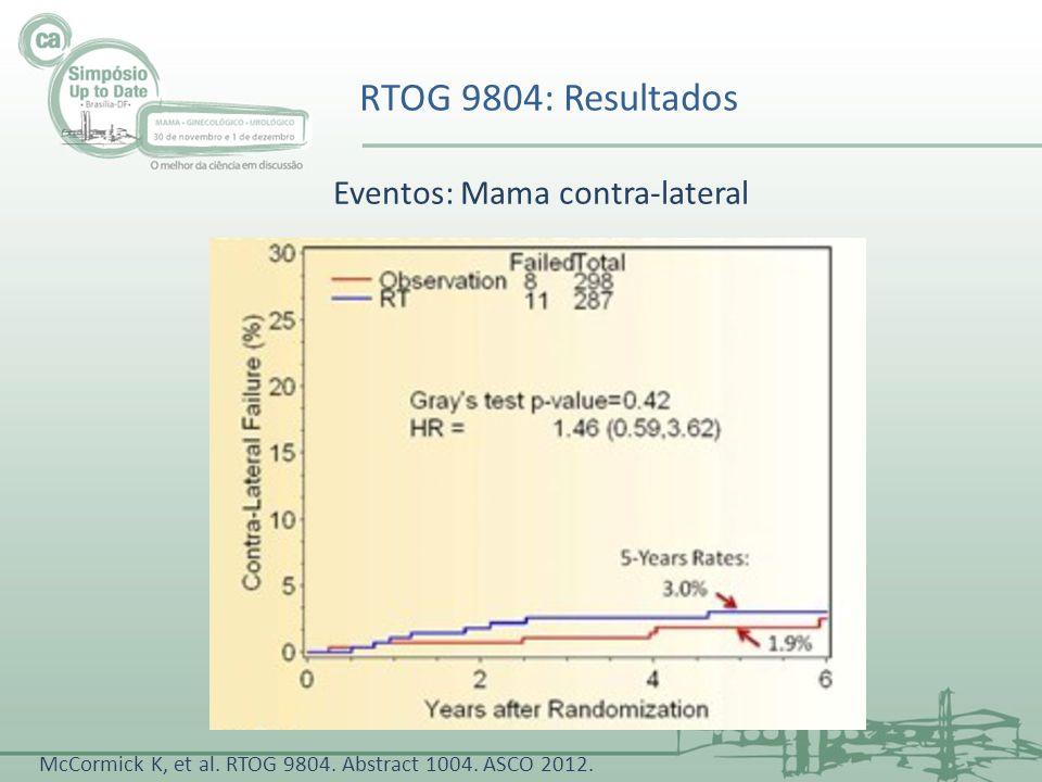 RTOG 9804: Resultados McCormick K, et al. RTOG 9804. Abstract 1004. ASCO 2012. Eventos: Mama contra-lateral