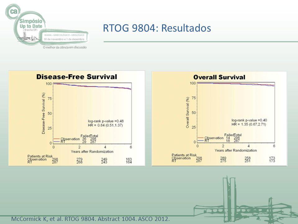 RTOG 9804: Resultados McCormick K, et al. RTOG 9804. Abstract 1004. ASCO 2012.