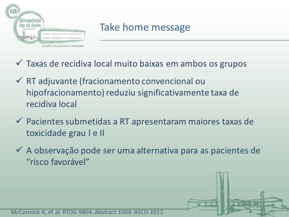 Take home message Taxas de recidiva local muito baixas em ambos os grupos RT adjuvante (fracionamento convencional ou hipofracionamento) reduziu signi