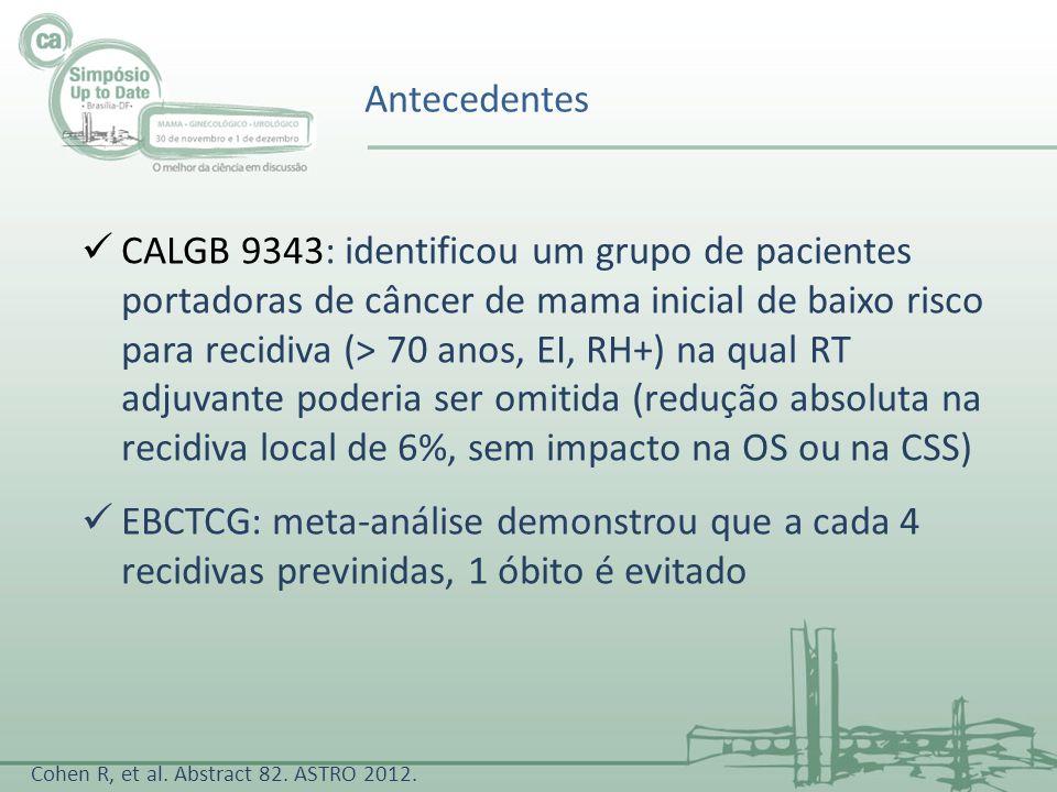 CALGB 9343: identificou um grupo de pacientes portadoras de câncer de mama inicial de baixo risco para recidiva (> 70 anos, EI, RH+) na qual RT adjuva