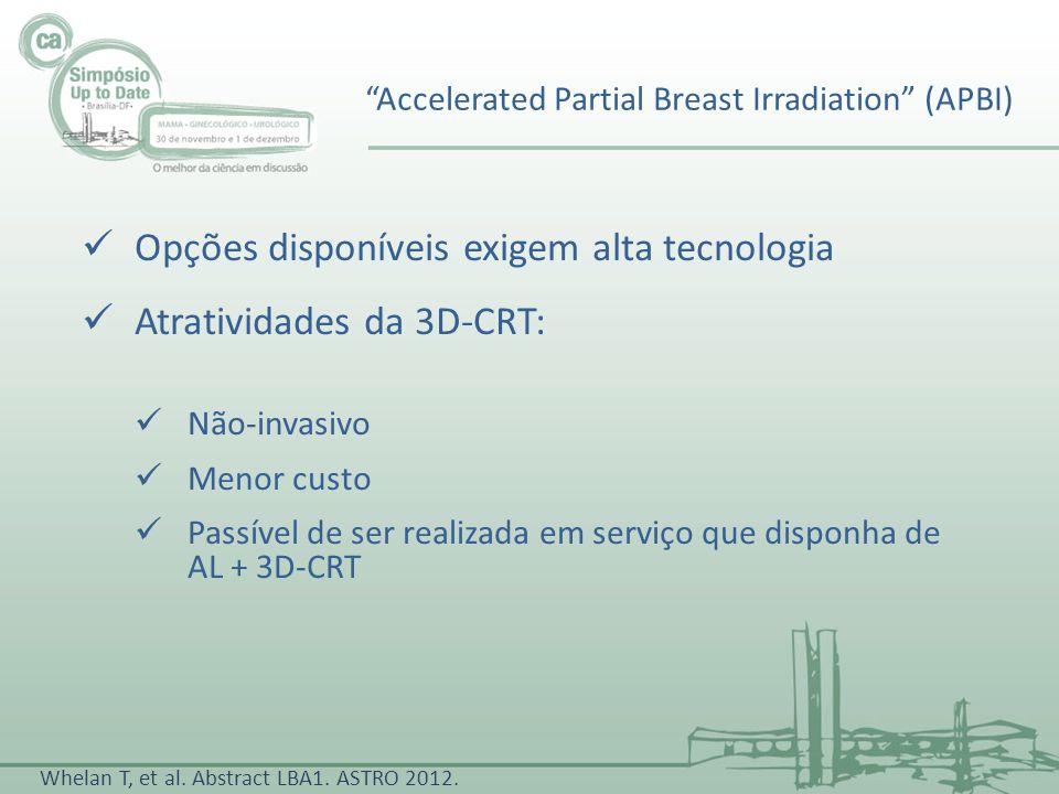 Opções disponíveis exigem alta tecnologia Atratividades da 3D-CRT: Não-invasivo Menor custo Passível de ser realizada em serviço que disponha de AL +