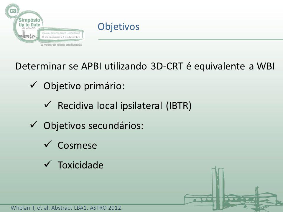 Determinar se APBI utilizando 3D-CRT é equivalente a WBI Objetivo primário: Recidiva local ipsilateral (IBTR) Objetivos secundários: Cosmese Toxicidad