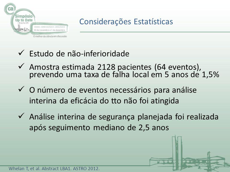 Considerações Estatísticas Whelan T, et al. Abstract LBA1. ASTRO 2012. Estudo de não-inferioridade Amostra estimada 2128 pacientes (64 eventos), preve