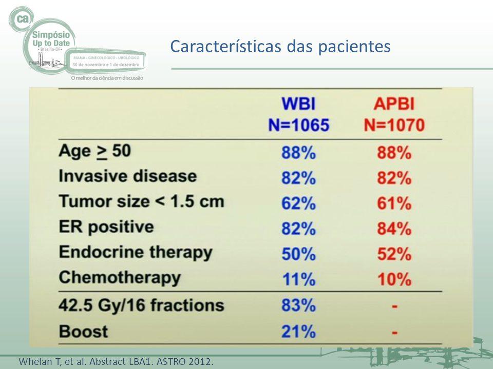 Características das pacientes Whelan T, et al. Abstract LBA1. ASTRO 2012.