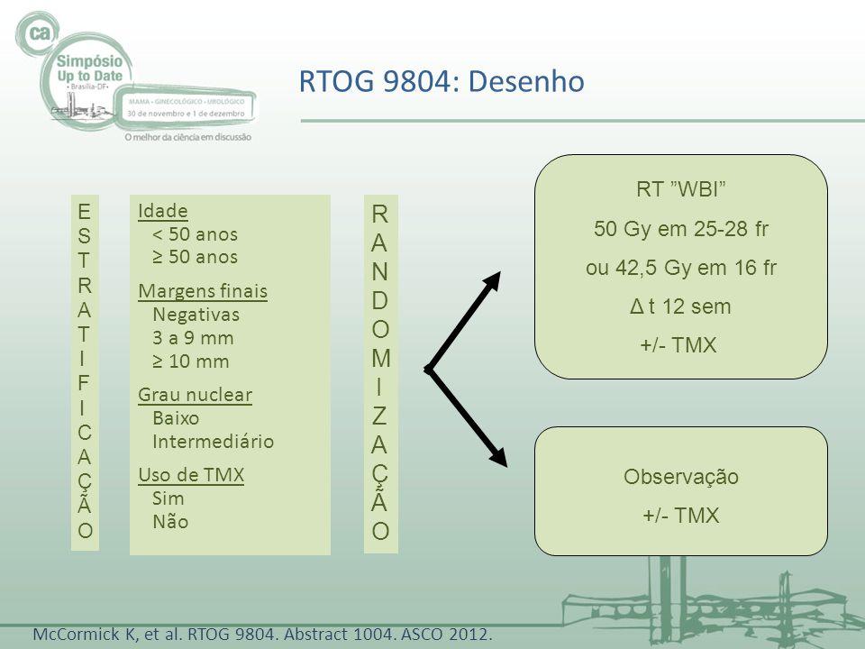 Observação +/- TMX Idade < 50 anos 50 anos Margens finais Negativas 3 a 9 mm 10 mm Grau nuclear Baixo Intermediário Uso de TMX Sim Não RT WBI 50 Gy em