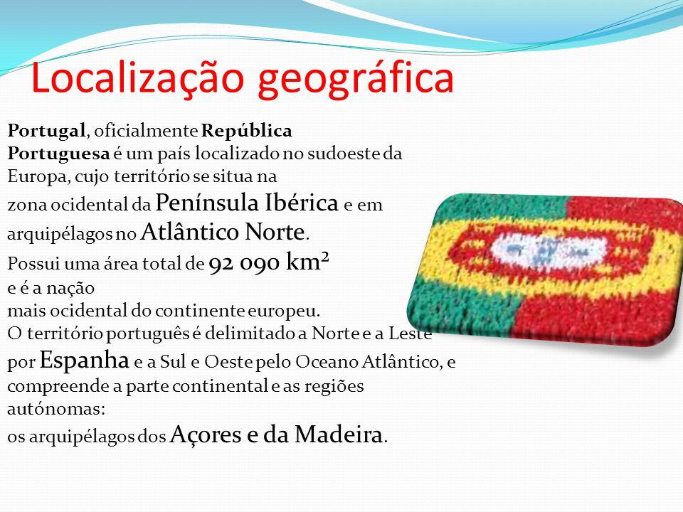 Localização geográfica Portugal, oficialmente República Portuguesa é um país localizado no sudoeste da Europa, cujo território se situa na zona ocidental da Península Ibérica e em arquipélagos no Atlântico Norte.