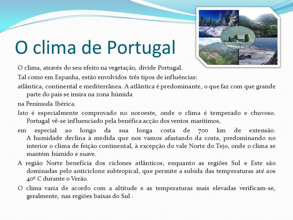 O clima de Portugal O clima, através do seu efeito na vegetação, divide Portugal.