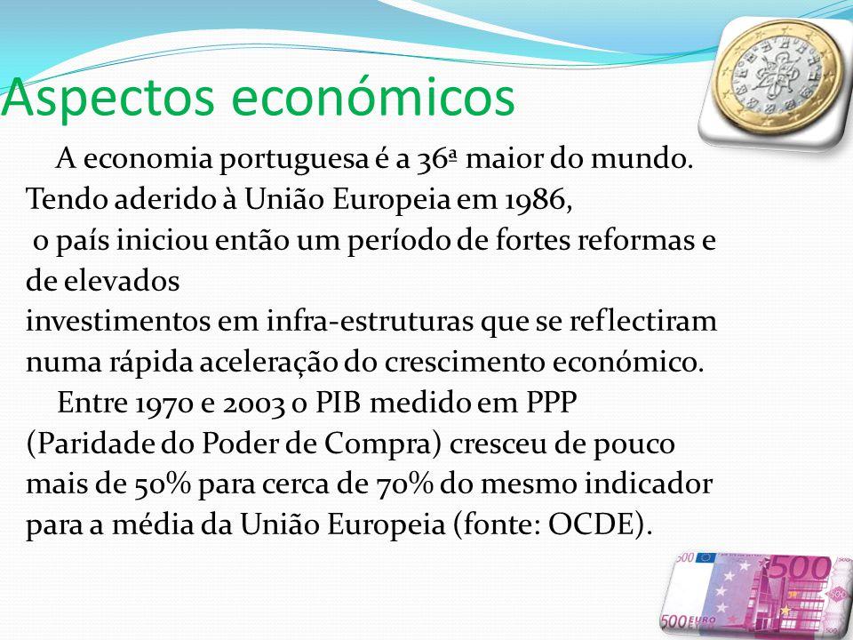 Aspectos económicos A economia portuguesa é a 36ª maior do mundo.