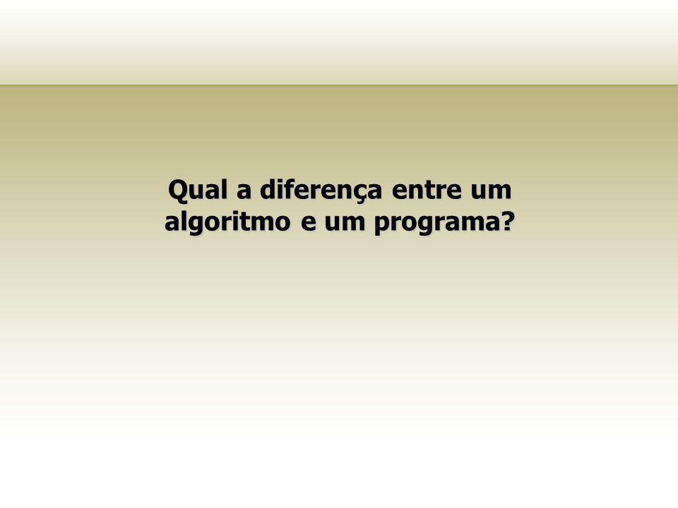 Qual a diferença entre um algoritmo e um programa?
