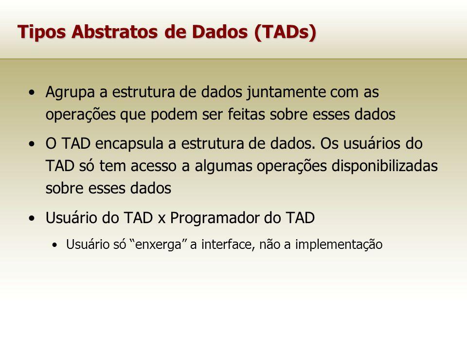 Tipos Abstratos de Dados (TADs) Agrupa a estrutura de dados juntamente com as operações que podem ser feitas sobre esses dados O TAD encapsula a estrutura de dados.