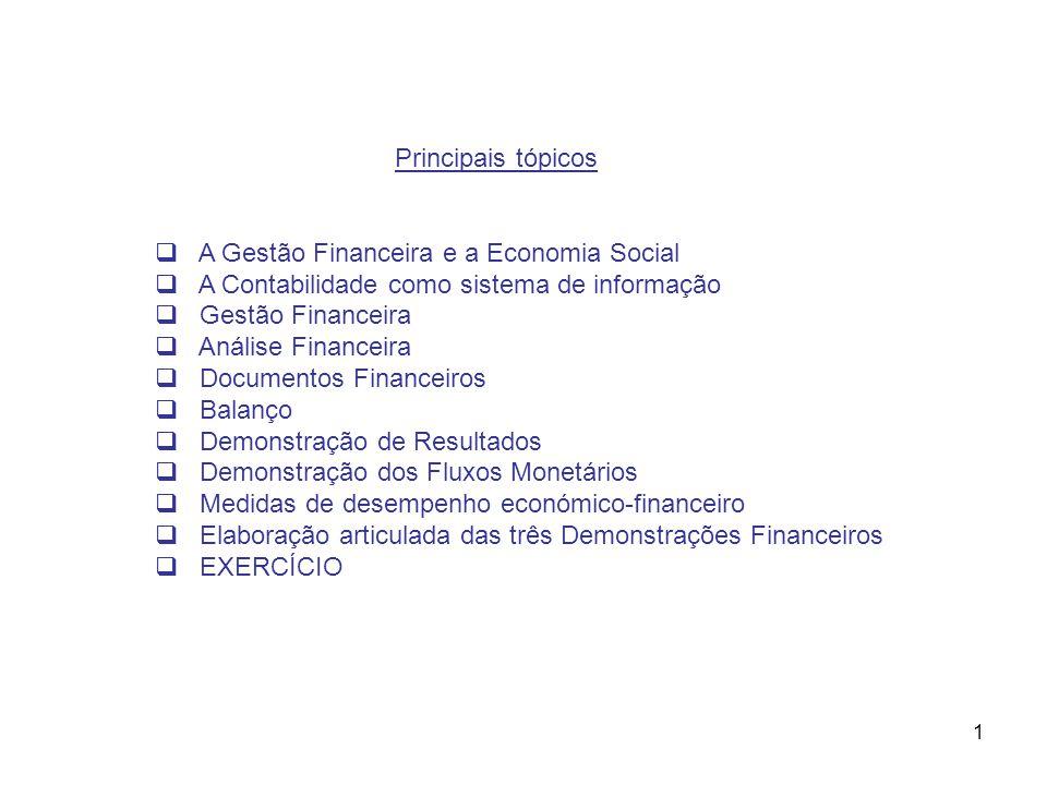 1 Principais tópicos A Gestão Financeira e a Economia Social A Contabilidade como sistema de informação Gestão Financeira Análise Financeira Documento