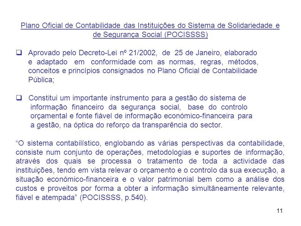 11 Plano Oficial de Contabilidade das Instituições do Sistema de Solidariedade e de Segurança Social (POCISSSS) Aprovado pelo Decreto-Lei nº 21/2002,
