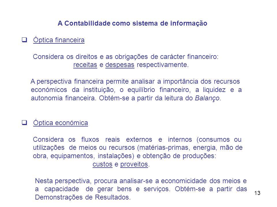 13 A Contabilidade como sistema de informação Óptica financeira Considera os direitos e as obrigações de carácter financeiro: receitas e despesas resp
