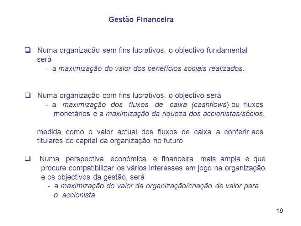 19 Numa organização sem fins lucrativos, o objectivo fundamental será - a maximização do valor dos benefícios sociais realizados. Numa organização com