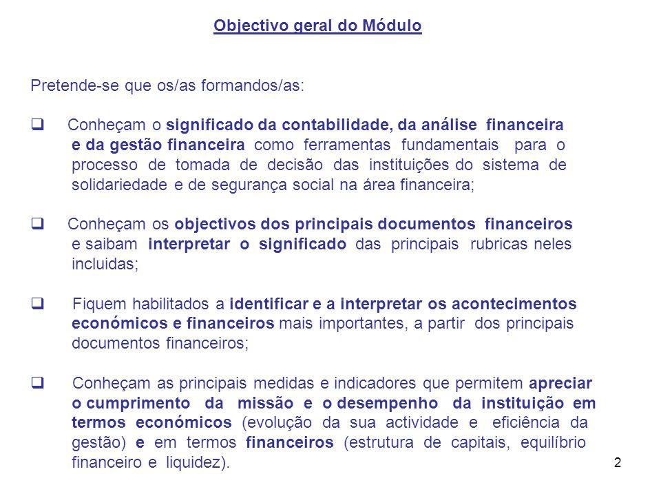 2 Objectivo geral do Módulo Pretende-se que os/as formandos/as: Conheçam o significado da contabilidade, da análise financeira e da gestão financeira