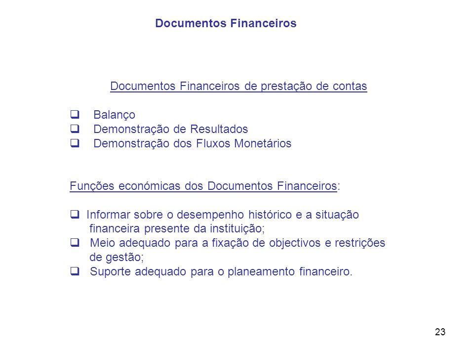 23 Documentos Financeiros de prestação de contas Balanço Demonstração de Resultados Demonstração dos Fluxos Monetários Funções económicas dos Document