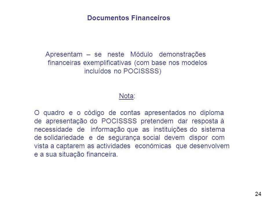 24 Apresentam – se neste Módulo demonstrações financeiras exemplificativas (com base nos modelos incluídos no POCISSSS) Nota: O quadro e o código de c