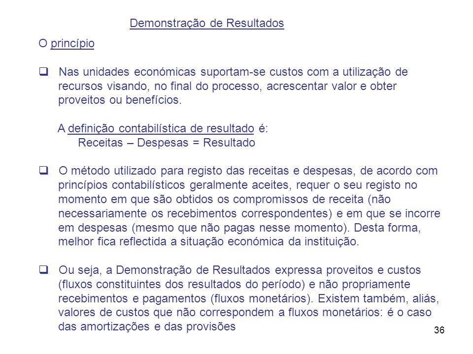 36 Demonstração de Resultados O princípio Nas unidades económicas suportam-se custos com a utilização de recursos visando, no final do processo, acres