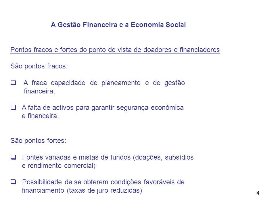 4 A Gestão Financeira e a Economia Social Pontos fracos e fortes do ponto de vista de doadores e financiadores São pontos fracos: A fraca capacidade d