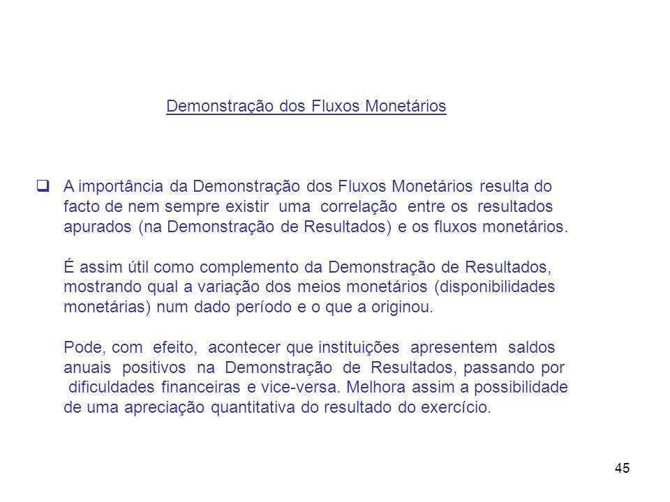 45 Demonstração dos Fluxos Monetários A importância da Demonstração dos Fluxos Monetários resulta do facto de nem sempre existir uma correlação entre