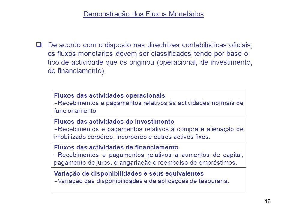 46 De acordo com o disposto nas directrizes contabilísticas oficiais, os fluxos monetários devem ser classificados tendo por base o tipo de actividade