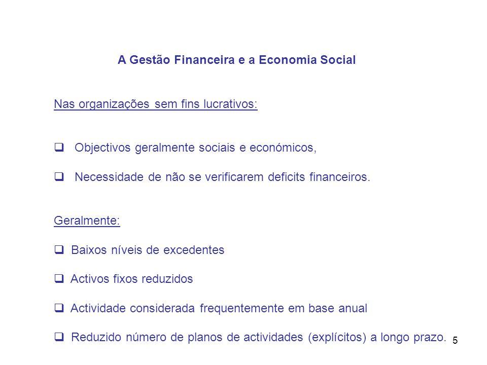 5 A Gestão Financeira e a Economia Social Nas organizações sem fins lucrativos: Objectivos geralmente sociais e económicos, Necessidade de não se veri