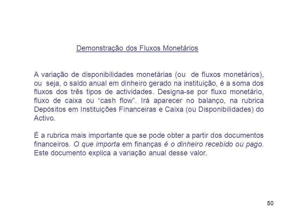 50 Demonstração dos Fluxos Monetários A variação de disponibilidades monetárias (ou de fluxos monetários), ou seja, o saldo anual em dinheiro gerado n