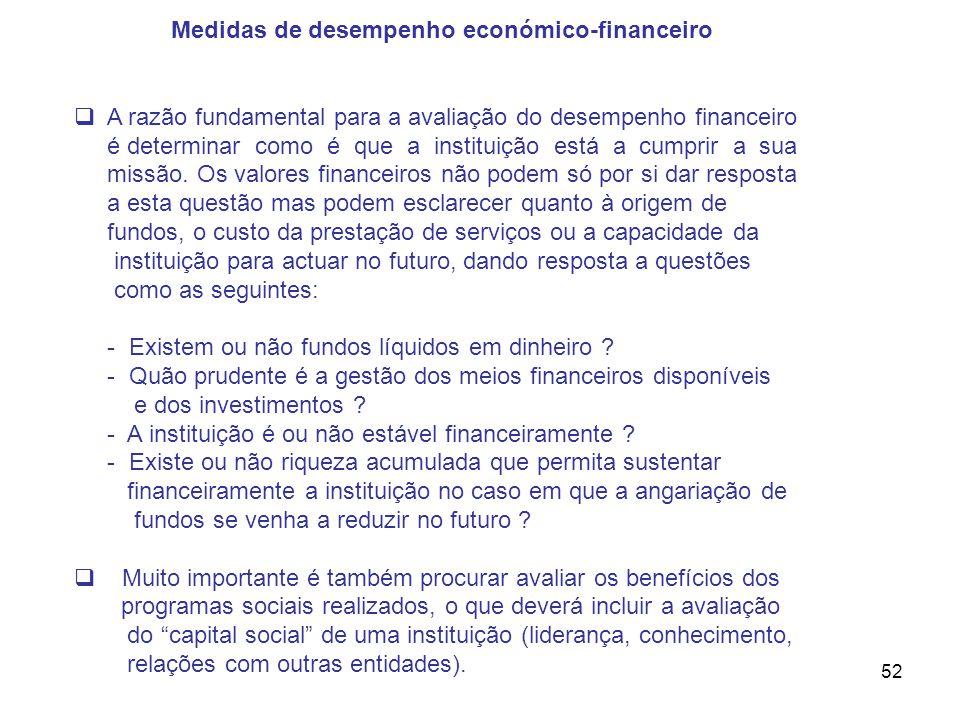 52 Medidas de desempenho económico-financeiro A razão fundamental para a avaliação do desempenho financeiro é determinar como é que a instituição está