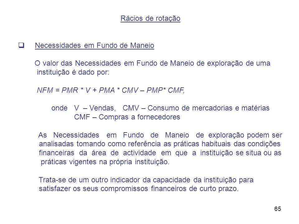 65 Rácios de rotação Necessidades em Fundo de Maneio O valor das Necessidades em Fundo de Maneio de exploração de uma instituição é dado por: NFM = PM