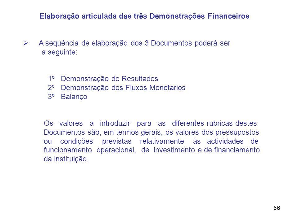66 Elaboração articulada das três Demonstrações Financeiros A sequência de elaboração dos 3 Documentos poderá ser a seguinte: 1º Demonstração de Resul