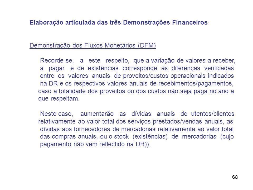 68 Elaboração articulada das três Demonstrações Financeiros Demonstração dos Fluxos Monetários (DFM) Recorde-se, a este respeito, que a variação de va