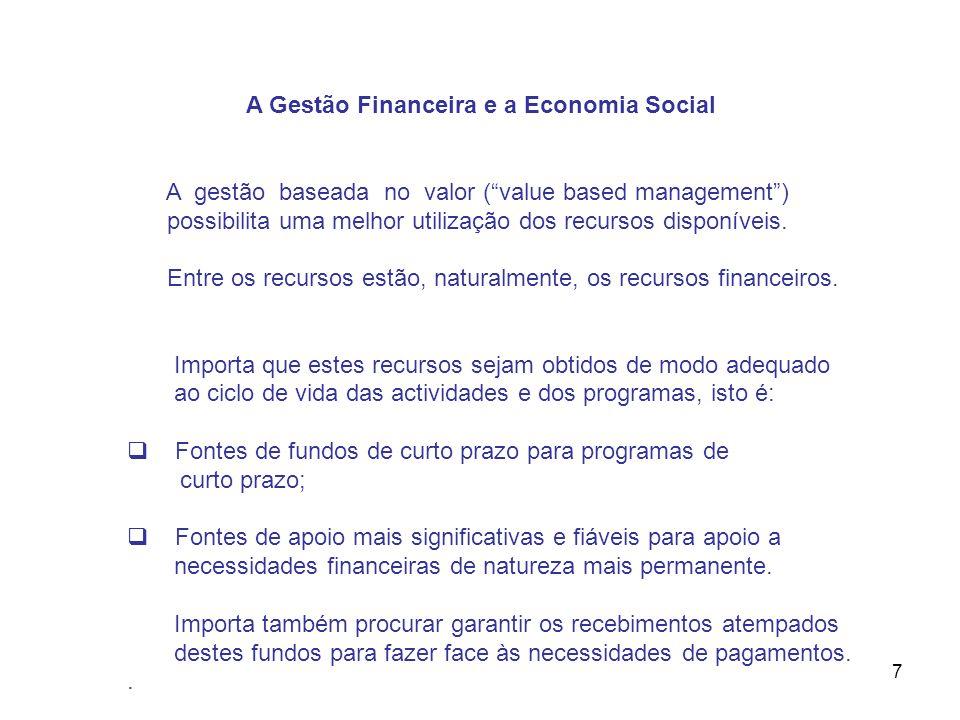 7 A Gestão Financeira e a Economia Social A gestão baseada no valor (value based management) possibilita uma melhor utilização dos recursos disponívei