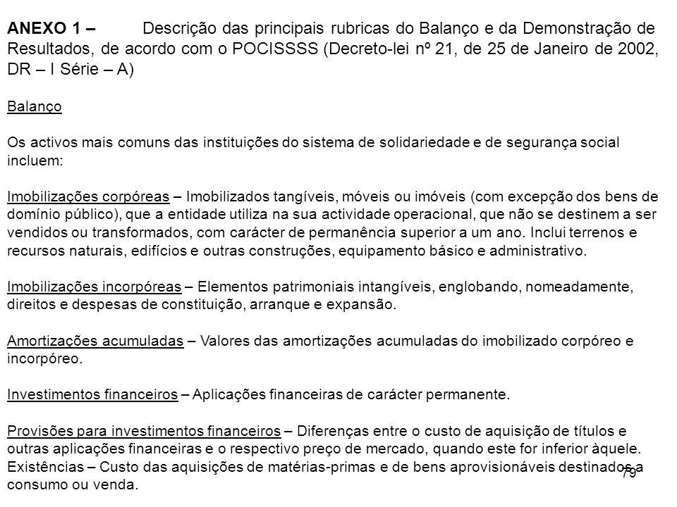 79 ANEXO 1 – Descrição das principais rubricas do Balanço e da Demonstração de Resultados, de acordo com o POCISSSS (Decreto-lei nº 21, de 25 de Janei