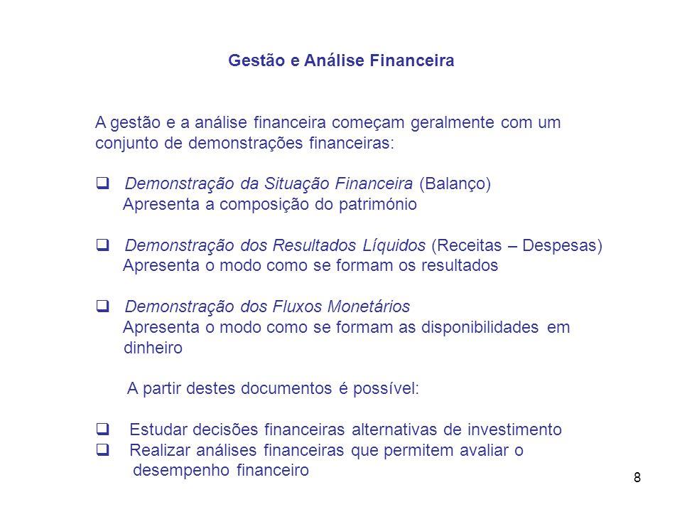8 Gestão e Análise Financeira A gestão e a análise financeira começam geralmente com um conjunto de demonstrações financeiras: Demonstração da Situaçã