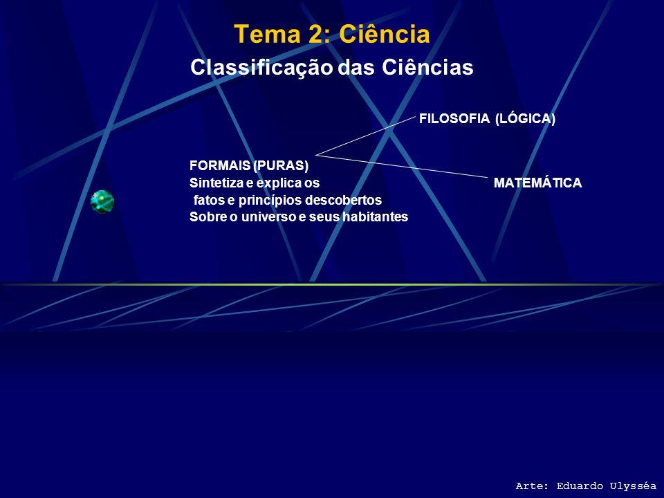 Tema 2: Ciência Arte: Eduardo Ulysséa Características da Ciência Conhecimento pelas causas Profundidades e generalidades de suas conclusões Finalidade