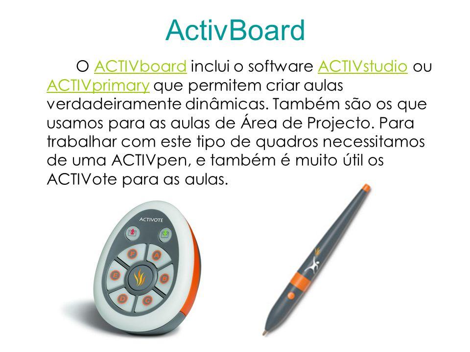 ActivBoard O ACTIVboard inclui o software ACTIVstudio ou ACTIVprimary que permitem criar aulas verdadeiramente dinâmicas.