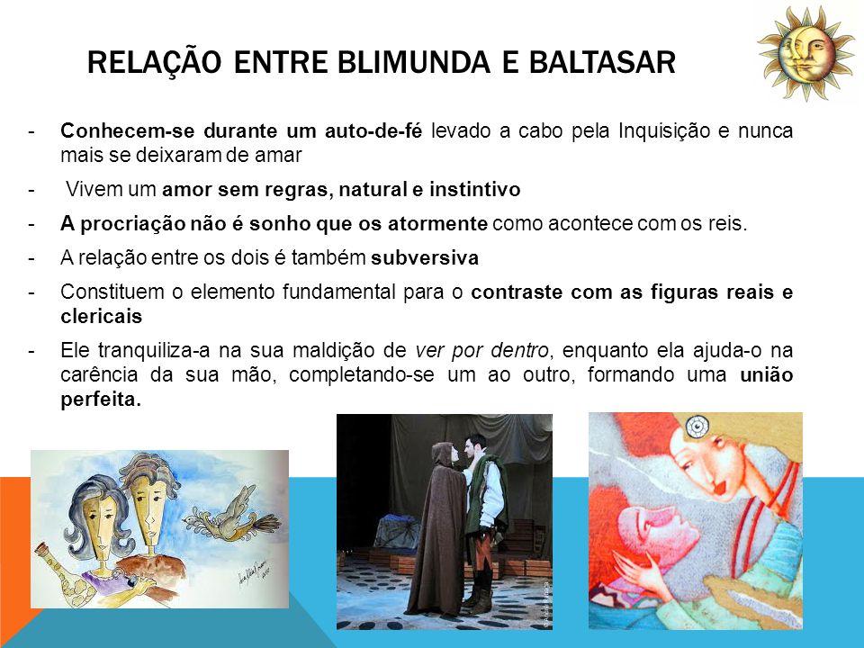 RELAÇÃO AMOROSA DE BALTASAR E BLIMUNDA E A SUA COMPARAÇÃO COM A ACTUALIDADE Na época (século XVIII)O amor de Baltasar e BlimundaA actualidade O casamento era ainda sagrado.