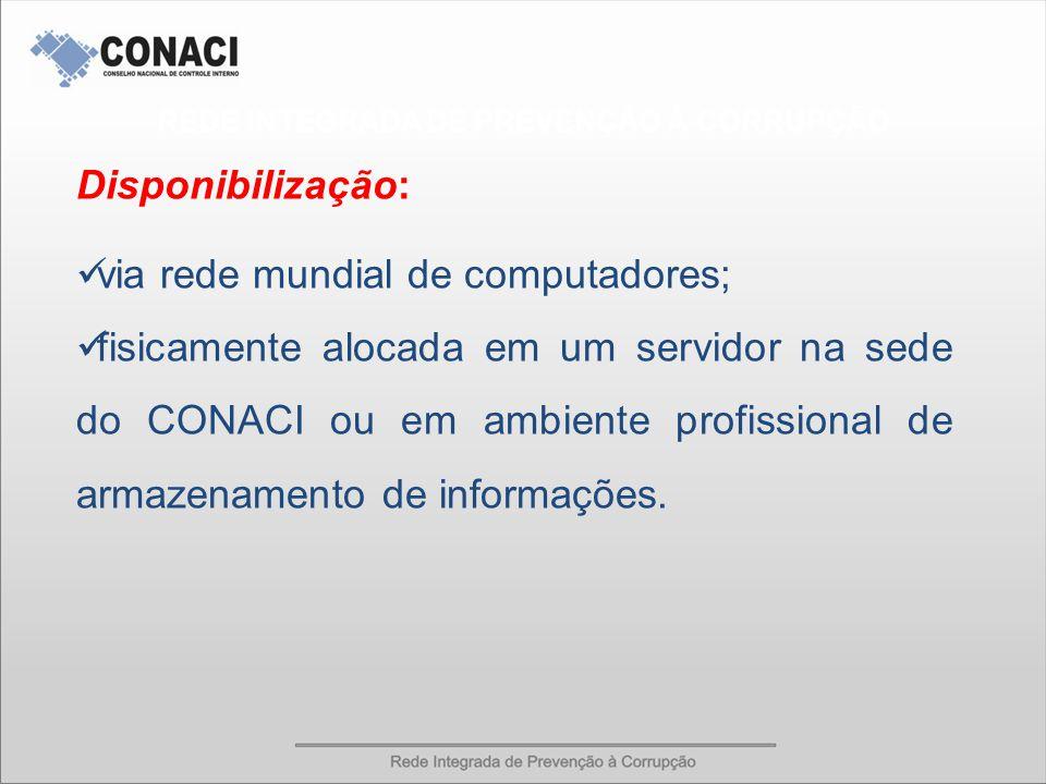 Disponibilização: via rede mundial de computadores; fisicamente alocada em um servidor na sede do CONACI ou em ambiente profissional de armazenamento de informações.