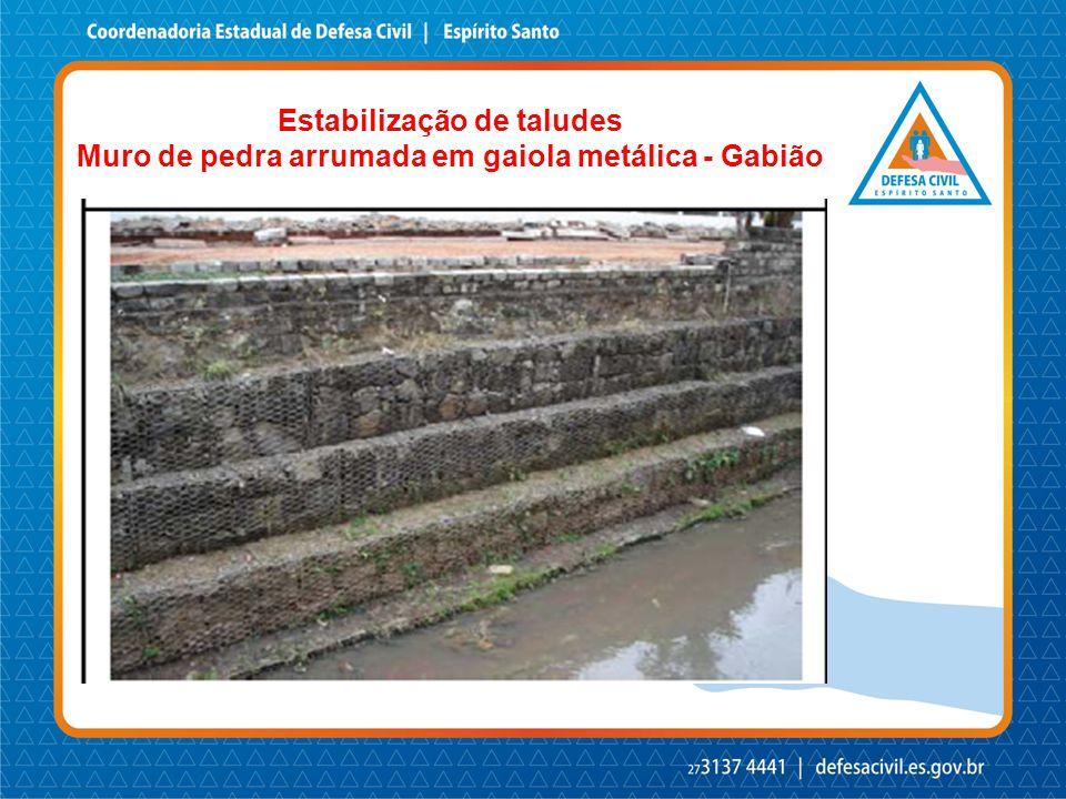 Estabilização de taludes Muro de pedra arrumada em gaiola metálica - Gabião