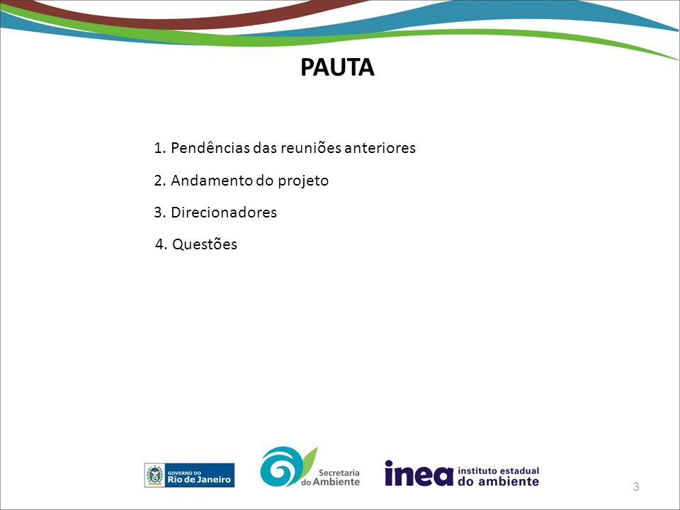 PAUTA 3 1. Pendências das reuniões anteriores 2. Andamento do projeto 3. Direcionadores 4. Questões