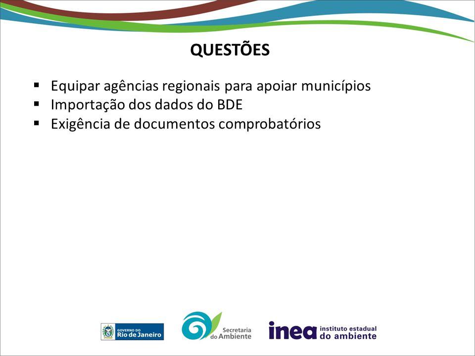 QUESTÕES Equipar agências regionais para apoiar municípios Importação dos dados do BDE Exigência de documentos comprobatórios
