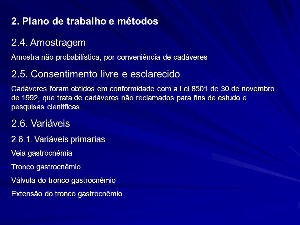 2. Plano de trabalho e métodos 2.4. Amostragem Amostra não probabilística, por conveniência de cadáveres 2.5. Consentimento livre e esclarecido Cadáve
