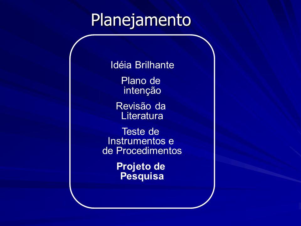 Idéia Brilhante Plano de intenção Revisão da Literatura Teste de Instrumentos e de Procedimentos Projeto de Pesquisa Planejamento