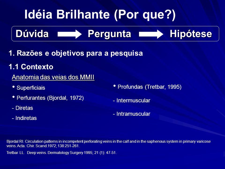 Idéia Brilhante (Por que?) 1. Razões e objetivos para a pesquisa 1.1 Contexto Anatomia das veias dos MMII Superficiais Perfurantes (Bjordal, 1972) - D