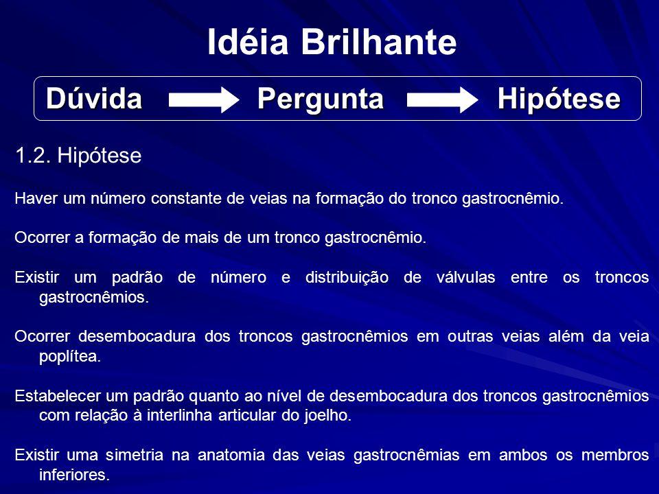Idéia Brilhante 1.2. Hipótese Haver um número constante de veias na formação do tronco gastrocnêmio. Ocorrer a formação de mais de um tronco gastrocnê