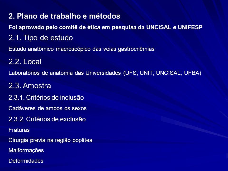 2. Plano de trabalho e métodos Foi aprovado pelo comitê de ética em pesquisa da UNCISAL e UNIFESP 2.1. Tipo de estudo Estudo anatômico macroscópico da