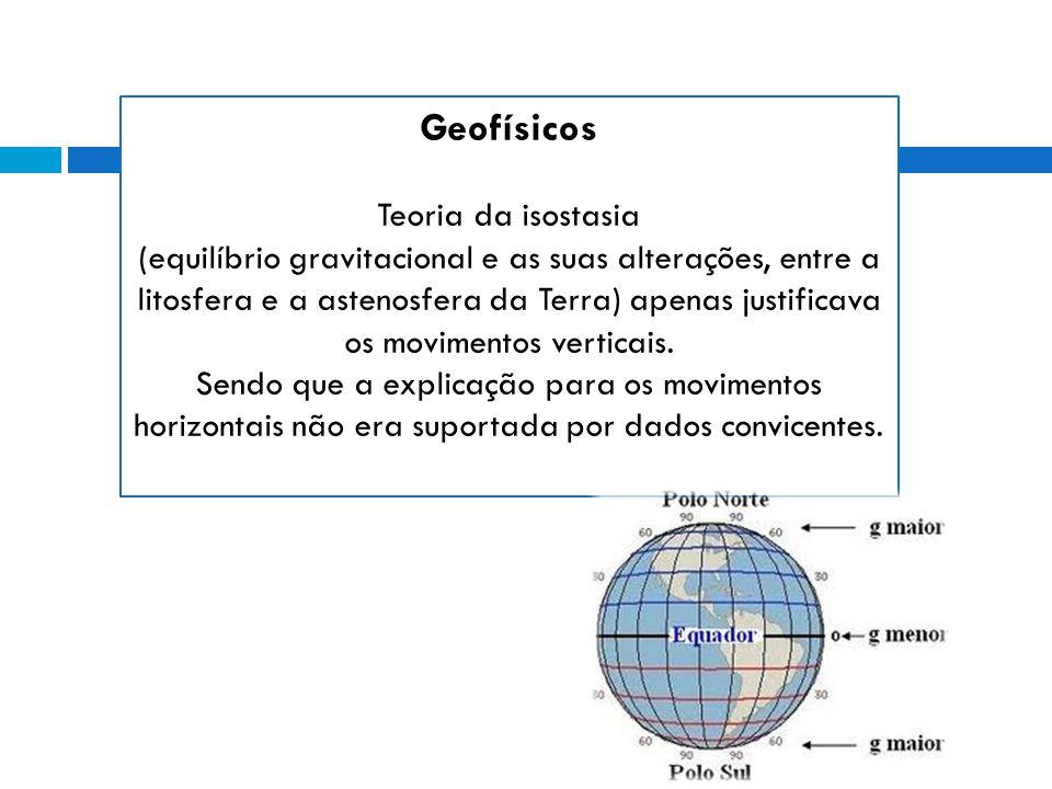 Geofísicos Teoria da isostasia (equilíbrio gravitacional e as suas alterações, entre a litosfera e a astenosfera da Terra) apenas justificava os movimentos verticais.